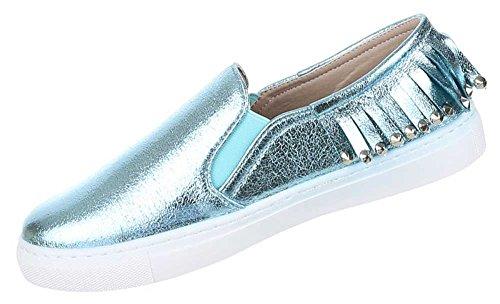 Damen Schuhe Halbschuhe Slipper Hellblau