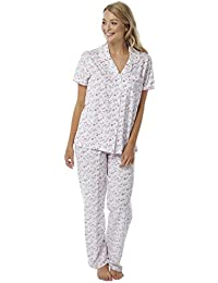 069e7bcf9b Ladies Jersey 100% Cotton Nightie Pyjamas Nightwear Long Or Short Sleeved  Full Length Buttoned Low