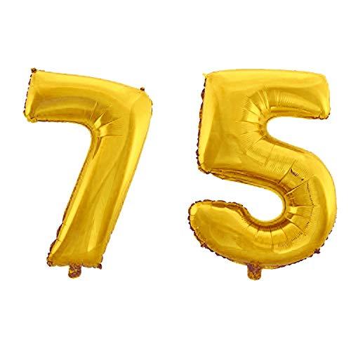 WeAreAwesome Folien-Ballon Luft-Ballon Zahl 75 Gold 60CM XL Aufpusten Geburtstag Jubiläum Jahrestag Feier