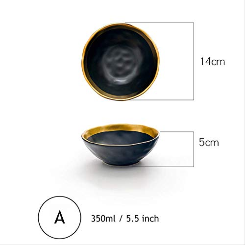 1pc Minimalist Dinner Bowl Black Gold Ceramic Rice Bowl Mit Golden-edge-dinnerware Suppe Noodle Dekorative Bowl 5,5 Zoll Golden Rice Bowl