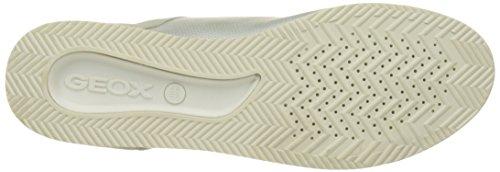 Geox Damen D Chewa A Sneakers Silber (IVORY/PLATINUMC0997)