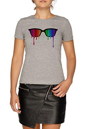 Regenbogen - Spektrum (Stolz) Hipster Nerd Brille Damen Grau T-Shirt Größe XXL | Women's Grey...