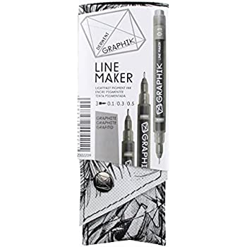 Derwent Graphik Line Stift Fineliner (3-er Pack) graphit