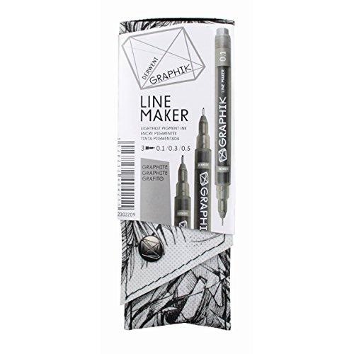 Derwent Graphik Line Stift Fineliner (3-er Pack) graphit