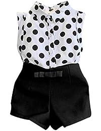 Internet Filles Enfants Polka Dot T-shirt Tops + Rose Bowknot Shorts 1Set