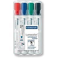 Staedtler Lumocolor 351, Marqueur pour tableau blanc  effaçable à sec, Sans xylène ni toluène et quasi inodore, Set de 4 couleurs, pointe ogive 2 mm, 351 WP4