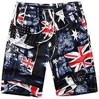 Schnuger Pantalones Cortos para Mujeres De Los Hombres Pantalones Cortos De Playa con Bandera De Los Troncos De Nadada Británicos con Bolsillos Quick Dry Summer Shorts De Playa XXXXL