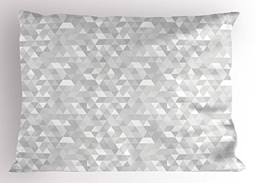 fringcoook Grey and White Pillow Sham, Pattern with Triangles Mosaic Geometrical Hipster Low Poly Effect, Decorative Standard Queen Size Printed Pillowcase, 30 X 20 Inches, Pale Grey and White