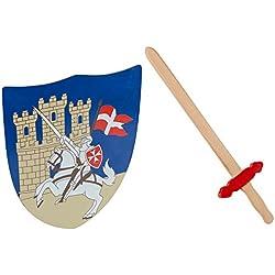 Idena 40032–Cruz Ritter Juego para niños, espada y escudo, madera