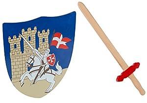 Idena 40032-Cruz Ritter Juego para niños, espada y escudo, madera