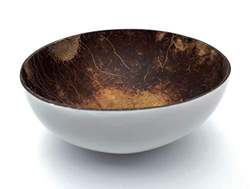 Batriozo Einzigartige Kokosnuss Schale - Hochwertige Dekoschale - 100% Handgemacht und Umweltfreundlich - Vielseitig Einsetzbar - Coconut Bowl (Weiß) -