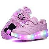 Recollect Kinder LED Schuhe mit Rollen Drucktaste Einstellbare Skateboardschuhe 1Räder/2 Räder Outdoor Gymnastik Turnschuhe Für Junge Mädchen,Pink2,37EU