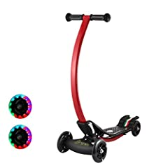 Idea Regalo - Homgrace Scooter Pieghevole per Bambini a 4 Ruote, Monopattino a Forma C con LED Luci, Carico Massimo 50KG, Regalo per Bambini 4-10 Anni
