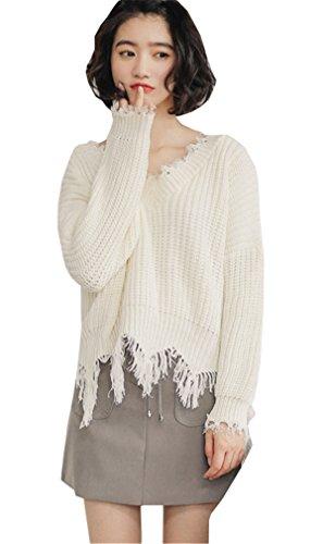 JOTHIN V-Ausschnitt zerrissene Strickpulli lose langärmlig Pullover Volltonfarbe Elegant Jumper Vintage Elegant Sweater Damen