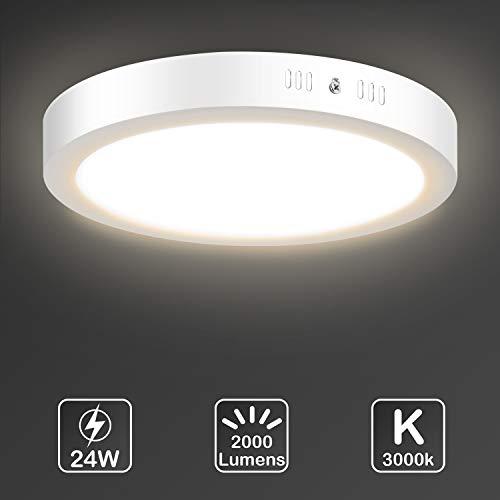 LED Deckenleuchte, Uchrolls LED Deckenlampe 24W, Ersetzt 150W Glühbirne,2000LM,Warmweiß 3000K, Ø30cm,Rund Metall Rahmen,Modern Led Deckenleuchten Schlafzimmer Küche Wohnzimmer Lampe