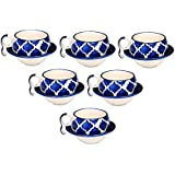 METRO MART() Ceramic Tea Cup And Saucer Set, 150 Ml, Fresh Tri Color Classy Ceramic Tea Cups/Ceramic Tea Cups Set Of 6/Ceramic Tea Cup Set/Ceramic Tea Cup And Saucer - White & Blue