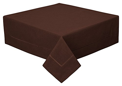 Tischdecke Decke Fleckschutz Leinenstruktur in 2 Größen und 11 Farben (braun, 80 x 80cm)