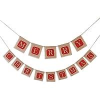 """Leorx - Guirnalda con pancarta de yute para decoración de fiesta, con texto en inglés """"Merry Christmas"""""""