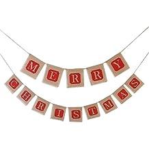 """LEROX - Ghirlanda natalizia con bandierine di iuta con lettere che formano la frase """"Merry Christmas"""""""