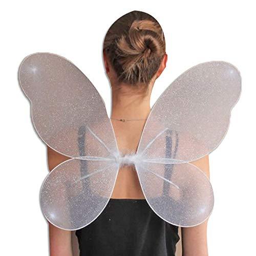 Islander Fashions Gro�e Erwachsene Net Fairy Wings mit Silber Glitter Fancy Dress Up Book Week Outfit Wei� One Size