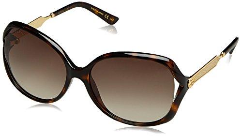 Gucci Damen GG0076S 003 Sonnenbrille, Braun (Avana/Brown), 60