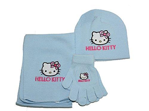Set Invierno Hello Kitty Bufanda Guantes Sombrero Azul * 06813