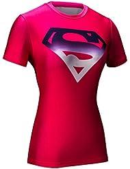 Cody Lundin® Women's Superhero Cap America Spider Hero Bat Hero Movie Theme Superheros Tight T-shirt, Yoga Sports Fitness T-shirt