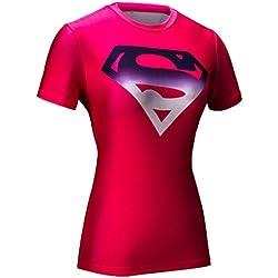 Cody Lundin® Mujeres Impresión 3D Digital Superpersona Ejercicio Fitness y compresión Manga Corta Camiseta ,para Yoga ejecutando Deportes (M, Rose)