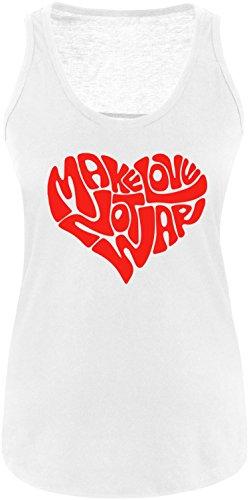 EZYshirt® Make love not war Damen Tanktop Weiß/Rot