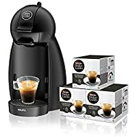 Pack Krups Dolce Gusto Piccolo - Cafetera, 1500 W, color negro mate + 3 packs de café Dolce Gusto Espresso Intenso