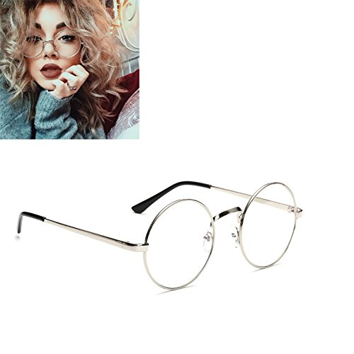 unisex-round-glasses-metal-frame-summer-retro-clear-lens-vintage-geek-oversized-eyelasses