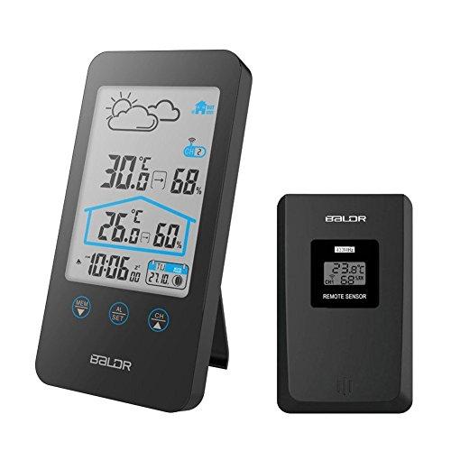 Iado Estación meteorológica, estación meteorológica de interior/exterior, con Sensor inalámbrico...