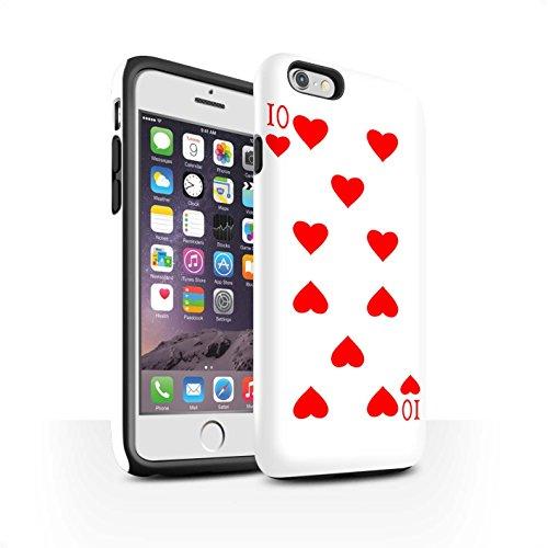 STUFF4 Matte Harten Stoßfest Hülle / Case für Apple iPhone 6 / Pik-König Muster / Kartenspielen Kollektion 10 von Herz