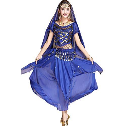 Bauchtänzerin Kostüm Saphir - TianBin Damen Chiffon Bauchtanz-Kostüm Kurzarm Top Röcke Halloween Kostüm Alle Accessoires (Saphir#2, One Size)