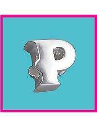 Plateado letra P auténtica Pure cuenta para el sello de sólido 925 de plata de ley cuenta de diseño de letra del alfabeto para de seguridad europeo pulsera y cadenas - 3D cinta para el/off - Filoro