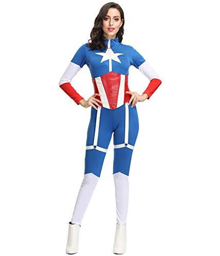 KILLM Film Captain America Adult Siamese Bühnenkostüm Mit Tailliertem Halloween Superman Kostüm,L (Hunde Tragen Superman Kostüm)
