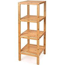 HOMFA Estantería de bambú con 4 baldas Estantes de libros para hogar y baño 33*33*99cm