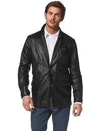 Class International Herren Lederblazer Sakko Jacket schwarz