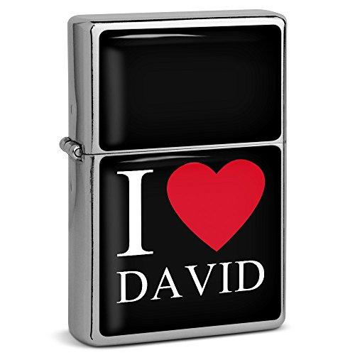 "PhotoFancy® - Sturmfeuerzeug Set mit Namen David - Feuerzeug mit Design \""I Love\"" - Benzinfeuerzeug, Sturm-Feuerzeug"