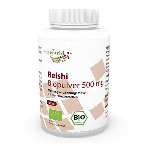 Vita World Reishi Pulver Bio Qualität 500mg 120 Kapseln Apotheken Herstellung ganoderma lucidum ling zhi (Vita Pulver)