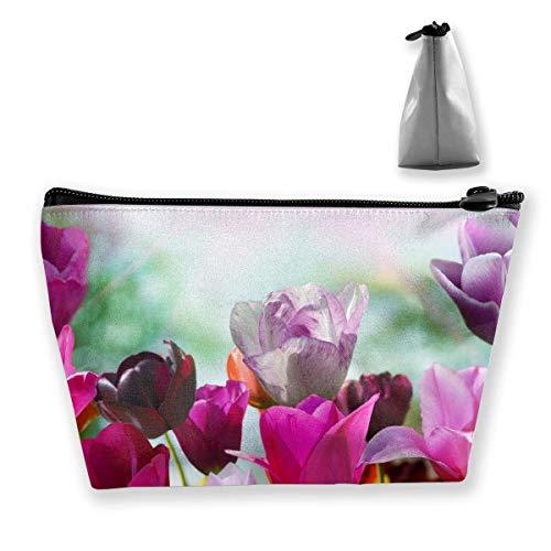 Travel Cosmetic Bags Tulips Small Makeup Bag Multifunction Pouch Cosmetic Handbag Toiletries Organizer Bag for Women Girl