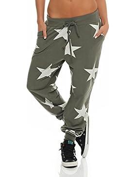 malito estrella Boyfriend Pantalón Sweatpants Fitness Harem Aladin Bombacho Sudadera Baggy Yoga 8025 Mujer Talla...