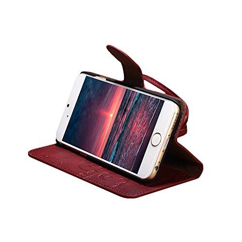 "D9Q Matte Folio decken PU Leder Flip Case Shell Skin Fall Hülle für Apple iPhone 6 4,7"" !!Rot"