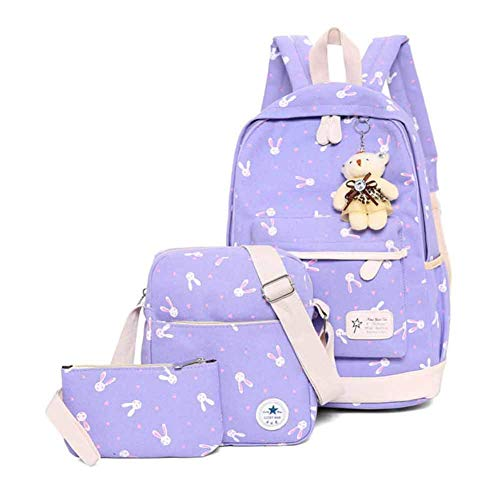 Zaini casual borsa da scuola zaino della scuola borsa 3 pezzi set borsa zainetto retro per ragazza adolescente donna collegio