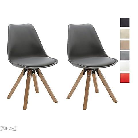 Stuhl Esszimmerstühle Küchenstühle !2 er Set! in GRAU Küchenstuhl mit Holzbeine Sitzkissen TYP9-518M Esszimmerstuhl RETRO Küchenstuhl
