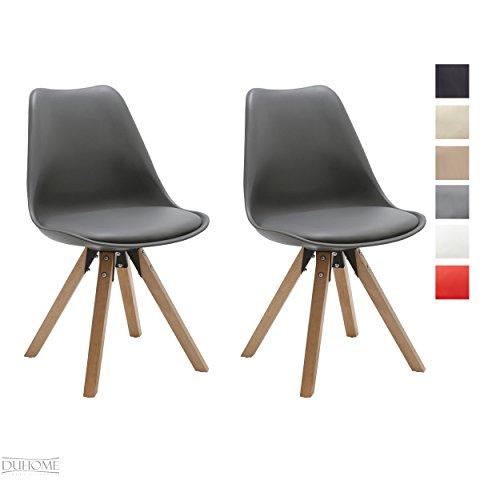 Stuhl Esszimmerstühle Küchenstühle !2 er Set! in GRAU Küchenstuhl mit Holzbeine Sitzkissen TYP9-518M Esszimmerstuhl RETRO Küchenstuhl Farbauswahl