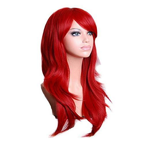 Komfami parrucca cosplay parrucca in fibra sintetica, parrucca per capelli ricci lunghi per costume party, parrucca a testa alta per festival halloween, cappellino per parrucca incluso, 70cm, 260grammi