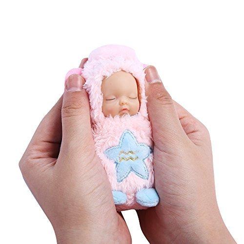 PlayMaty Mini niedliche Puppen Plüsch gefüllt Schlüsselbund 12 Konstellation schlafen Neugeborenes Baby Puppe Handytasche hängen Spielzeug Ornamente Acessory (Wassermann)