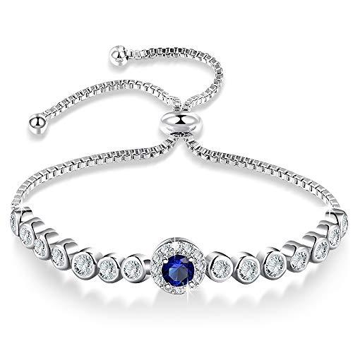 nuoyang Armband Art Und Weise Kreativ Adjustable White Gold Und Blau-Diamant-Frauen Armband-Schmucksachen Größe: 26cm * 8.5cm -