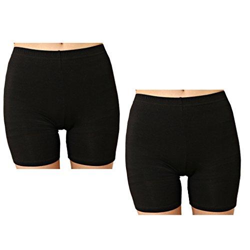 Liang Rou Damen Elasthan kurz Leggings 2-Pack Plain Farbe Schwarz S